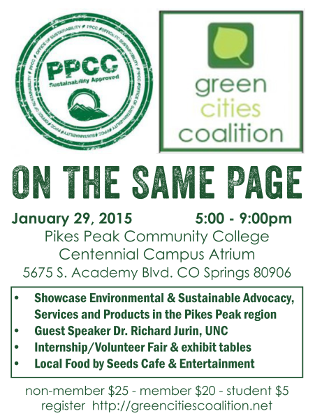 Pikes Peak Community College and Green Cities Coalition present Summit 4: ON THE SAME PAGE